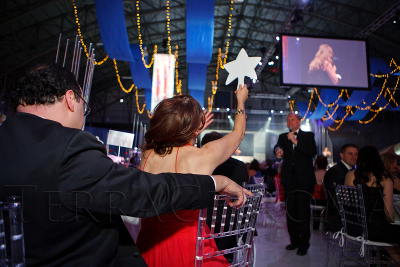Paddle raise during the Fund-a-Need Auction, an appeal for individual donations.  The Beaux Arts Ball, benefiting National Jewish Health, at Wings Over the Rockies Air & Space Museum in Denver, Colorado, on Saturday, March 10, 2012.<br /> Photo Steve Peterson