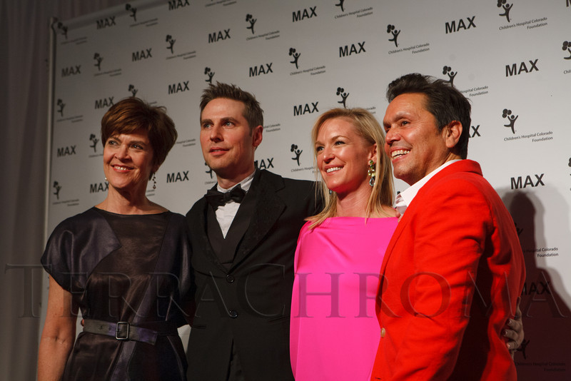 Kathleen Beatty, Scott Seale, Tricia Youssi, and Max Martinez.  MAX Fashion Show, featuring designer Maria Cornejo and benefiting the Mike McMorris Cystic Fibrosis Center at Children's Hospital, at Exdo Event Center in Denver, Colorado, on Friday, March 16, 2012.<br /> Photo Steve Peterson