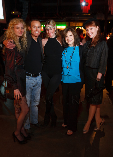 Jamie Magnus, Randy Carter, Aubrey Brewer, Donna Baldwin, and Aja Duniven.  MAX Fashion Show, featuring designer Maria Cornejo and benefiting the Mike McMorris Cystic Fibrosis Center at Children's Hospital, at Exdo Event Center in Denver, Colorado, on Friday, March 16, 2012.<br /> Photo Steve Peterson