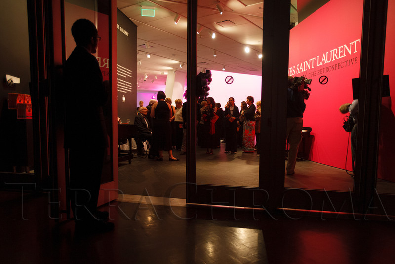 Guests queue for the first look at the YSL exhibit.<br /> Photo Steve Peterson