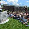 Tribune-Star/Jim Avelis<br /> In memory: Riley volunteer fire department chief Jeff Fox gave a brief talk about the memorial donated tot eh school in memory of students who have died.