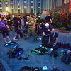 Aftermath: Scores of Terre Haute firefighters  rest after battling a fire at Garfield Gardens Thursday evening. The fire broke out on the 6th floor common area at approximately 9:00p.m.