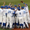 We are the champions: The Indiana State baseball team celebrates winning the Missouri Valley Championship with a 6-3 win over Missouri State Thursday evening at Bob Warn Field.