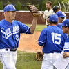 Indiana State pitcher Ryan Torgerson (left) celebrates with his teammates after turning a triple play to end the first inning against SIU Sunday, May 13, 2012 at Abe Martin Field in Carbondale. (Steve Jahnke / The Southern)