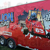 Impressive: Carson Dillion's likeness is painted onto the hauler used by the family for travel to various racing events.