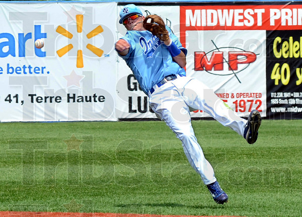 Throw: Indiana State shortstop Koby Kraemer makes an off balance throw after fielding a hard hit ball during game action with Wichita State Sunday afternoon at Bob Warn Field. Wichita State won the game 8-2. (AP Photo/Bob Poynter)
