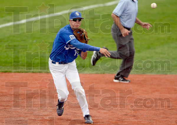 Tribune-Star/Joseph C. Garza<br /> Can't beat this: Indiana State's Ryan Walterhouse fires a throw to first base to throw out a Missouri State runner during the Sycamores' 5-0 loss Saturday at Sycamore Stadium.