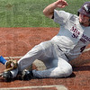 Tribune-Star/Joseph C. Garza<br /> Just in time: Indiana State catcher Jeremy Lucas tags out Missouri State's Brent Seifert just inches away from home plate during the Sycamores' loss Saturday at Sycamore Stadium.