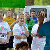 Tribune-Star/Joseph C. Garza<br /> Thank you: Lecia Brown thanks all of the participants in the Wegener's Awareness Warrior 5K Walk/Run Saturday before the start of the event at Forest Park in Brazil.