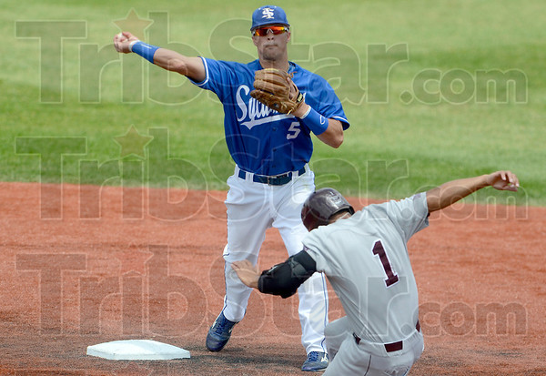 Tribune-Star/Joseph C. Garza<br /> Going for two: Indiana State's Koby Kraemer throws to first base for the double play after he forced out Missouri State's Keenan Maddox (1) during the Sycamores' 5-0 loss Saturday at Sycamore Stadium.