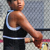Tribune-Star/Jim Avelis<br /> Eye on the ball: Terre Haute South #3 singles player Jordan Davis eyes a return to Oldenburg Academy's Chrissy Wanstrath in their Saturday morning match at Center Grove High School.