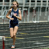 Tribune-Star/Joseph C. Garza<br /> No one trailing close: Terre Haute North's Chanli Mundy keeps a significant lead as she runs in the girls 3200-meter run Saturday during the Big 4 meet at Northview High School in Brazil.