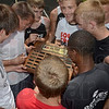 Tribune-Star/Joseph C. Garza<br /> Big 4 champs: Members of the Terre Haute South boys track & field team celebrate their Big 4 title Saturday at Northview High School in Brazil.