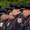 Tribune-Star/Joseph C. Garza<br /> A prayer for the fallen: Members of the rifle team of the Terre Haute Police Department Honor Guard bow their heads for a prayer during the department's memorial ceremony Thursday at police headquarters.