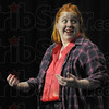 "Yoke is on you: Kasy Long rehearses her lines during Monday's dress rehearsal of ""We Love Lucy"" at the North auditorium. The eggs hidden in Lucy's blouse have been broken by accident during a dance session with Ricky."