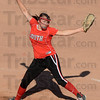 Tribune-Star/Jim Avelis<br /> Strong arm: Marissa Stout pitched a complete game for the Terre Haute South Braves in their sectional win over Northview. South won 5-1.