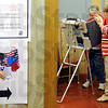 Voter: Absentee voting board member Sheena Ferguson assists Pat Davies with instructions for absentee voting at the Parke County Courthouse Monday afternoon.
