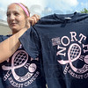 Acing Breast Cancer: Anna Potter poses with her shirt design prior to Monday's match play.