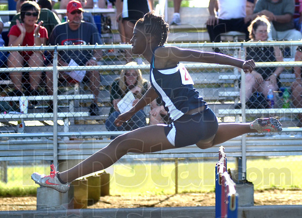 Tribune-Star/Jim Avelis<br /> Fastest: Terre haute North hurdler Kierra Porter won the 100 hurdles. Here she competes in the preliminaries.