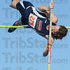 Tribune-Star/Jim Avelis<br /> Highest: Terre Haute North pole vaulter won the event with a jump of 10 feet 6 inches.