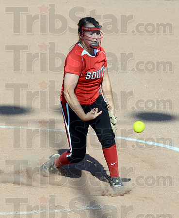 HEAT: South's #21, Marissa Stout fires a pitch to the plate during Wednesday's sectional championship game against Plainfield.`
