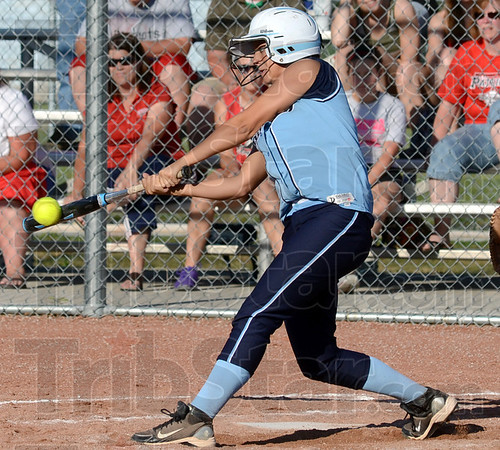 Contact: Shakamak's #6 Amber-Lynn Chesterfield makes contact with the ball during game action Tuesday evening.