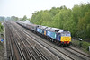 18 May 2012 :: Todays Cruise Saver from Southampton Docks to Edinburgh passes Worting.  The locos are 47805 & 47818 with 47802 at the rear