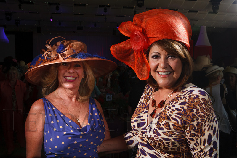 "Terri Fisher and Juanita Chacon.  ""Women With Hattitude--Act Seven,"" benefiting the Denver Center for Perfroming Arts' Women's Voices Fund, at the Donald R. Seawell Grand Ballroom, Denver Center for Performing Arts, in Denver, Colorado, on Thursday, May 3, 2012.<br /> Photo Steve Peterson"