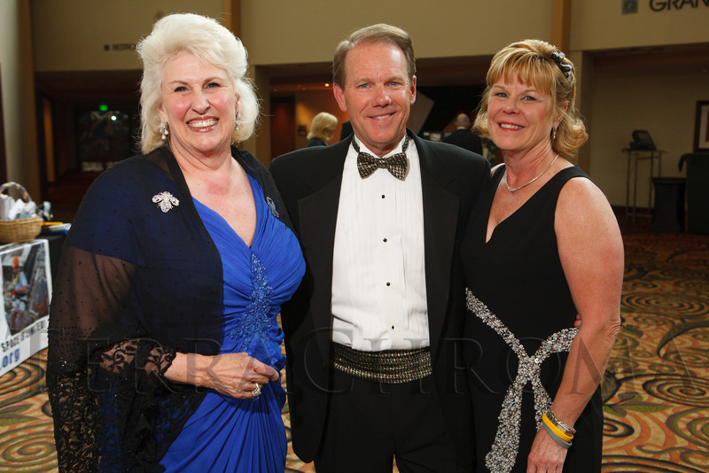 "Edie Marks with Gary and Barbara Reece.  Hope Ball, themed ""Dedicated to the Ones We Love,"" benefiting the Cancer League of Colorado, at the Hyatt Regency Denver Tech Center in Denver, Colorado, on Saturday, May 5, 2012.<br /> Photo Steve Peterson"