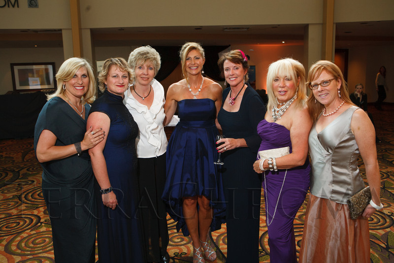 "Elise Marks-Gruitch, Katie Schroder, Colleen Johnson, Marina Dagenais, Kathleen Bennett, Paula Bennett, and Erika Rundiks.  Hope Ball, themed ""Dedicated to the Ones We Love,"" benefiting the Cancer League of Colorado, at the Hyatt Regency Denver Tech Center in Denver, Colorado, on Saturday, May 5, 2012.<br /> Photo Steve Peterson"