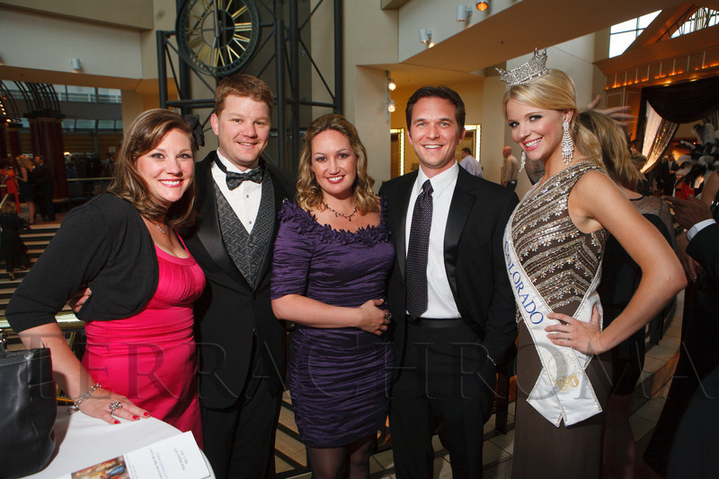 "Julie and Jeff Reece, Faith and Jon Marquardt, and Diana Dreman (Miss Colorado 2011).  Hope Ball, themed ""Dedicated to the Ones We Love,"" benefiting the Cancer League of Colorado, at the Hyatt Regency Denver Tech Center in Denver, Colorado, on Saturday, May 5, 2012.<br /> Photo Steve Peterson"