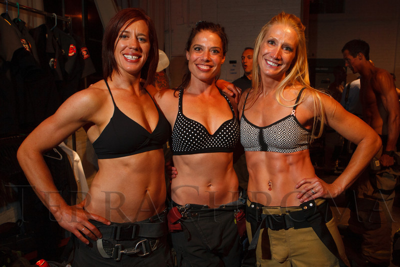 Jenny Klingmueller, Jennifer Rosely, and Rebecca Clark.  The 2013 Colorado Firefighter Calendar Auditions & Celebrity Judging Event at Exdo Event Center in Denver, Colorado, on Friday, May 11, 2012.<br /> Photo Steve Peterson