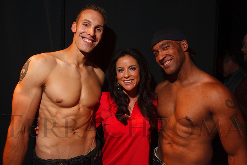 Tyler Capron, Melody Mendez, and LaDon Williams.  The 2013 Colorado Firefighter Calendar Auditions & Celebrity Judging Event at Exdo Event Center in Denver, Colorado, on Friday, May 11, 2012.<br /> Photo Steve Peterson