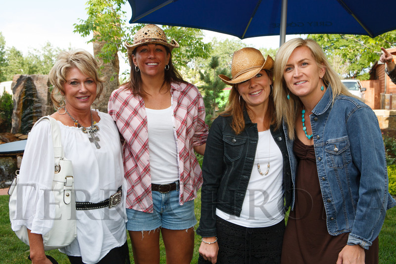 Cyndi Carpenter, Sandra Abeyta, Gia Mazey, and Meg Petersen.  The Barn Party, benefitting Denver Active 20-30 Children's Foundation, at the Polo Reserve Development in Littleton, Colorado, on Saturday, May 19, 2012.<br /> Photo Steve Peterson