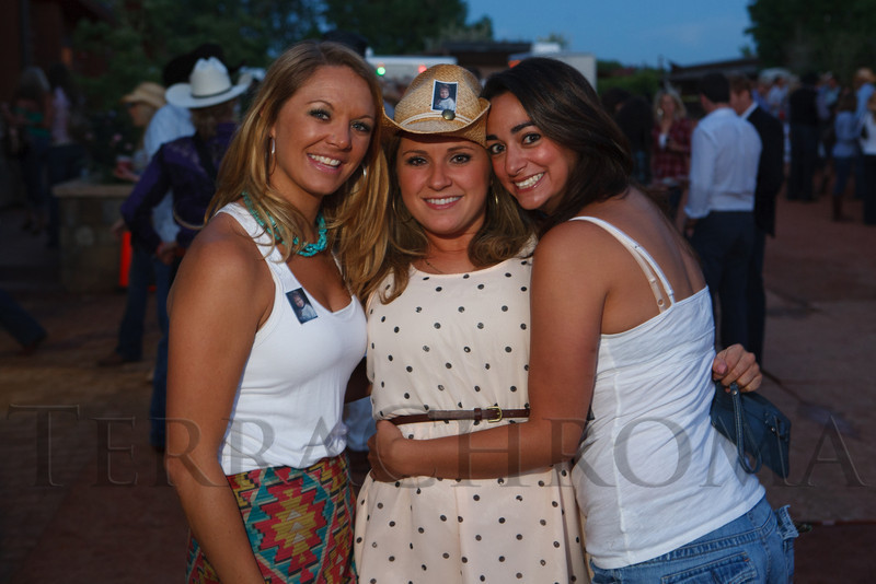 Lacy Moore, Kerry Woods, and Sydney Engelhardt.  The Barn Party, benefitting Denver Active 20-30 Children's Foundation, at the Polo Reserve Development in Littleton, Colorado, on Saturday, May 19, 2012.<br /> Photo Steve Peterson