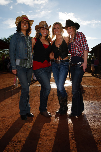 Sally Stubbs, Sherry Thomas, Ashley Scott, and Jenna Rosenthal.  The Barn Party, benefitting Denver Active 20-30 Children's Foundation, at the Polo Reserve Development in Littleton, Colorado, on Saturday, May 19, 2012.<br /> Photo Steve Peterson