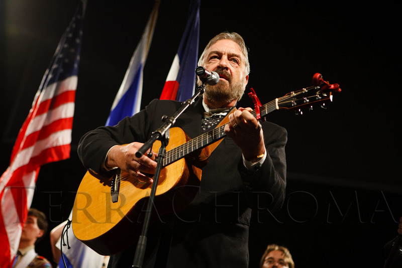 Jon Chandler sings the national anthem.  Mizel Museum 22nd Annual Gala Dinner, honoring Glenn R. Jones, at Wings Over the Rockies Air & Space Museum in Denver, Colorado, on Wednesday, May 23, 2012.<br /> Photo Steve Peterson