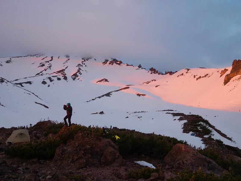 Last sunlight reaches camp