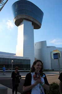 Vicki Portway (Manager of the NASM Web & New Media Division and @sluggernova) and ThinkGeek's Timmy model in front of the Donald D. Engen Tower at the Smithsonian National Air and Space Museum's Steven F. Udvar-Hazy Center