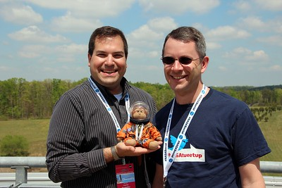 @CraigFifer and @robpegoraro model with ThinkGeek's Timmy