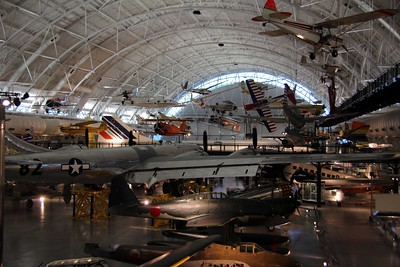 Some of the Smithsonian National Air and Space Museum's aircraft collection.  The large silver aircraft in the center is the Boeing B-29 Superfortress Enola Gay, and beyond it is a Concorde.