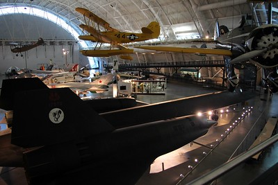 Some of the Smithsonian National Air and Space Museum's aircraft collection.  In the foreground is a Lockheed SR-71 Blackbird.
