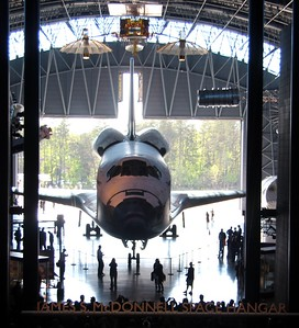 Discovery at rest in the James S. McDonnell Space Hangar at the Smithsonian National Air and Space Museum's Steven F. Udvar-Hazy Center