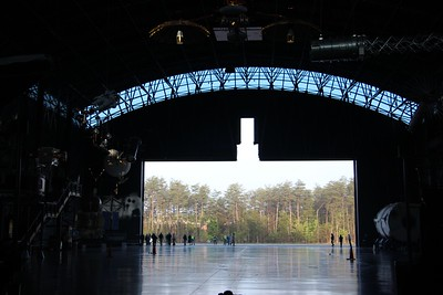 The center of the James S. McDonnell Space Hangar is empty for the first time since it was built in 2003