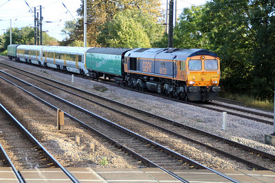 66728 1721/5x89 Slade Green-Doncaster Wabtec unit move with 466028_466024 passes Tallington crossing.