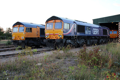 66712 and 66723 GBRF Peterboro Depot.