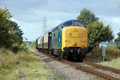 55002 approaching Station Road crossing, Ailsworth.