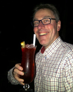 A Hurricane at Pat O'Brien's pano bar on Bourbon Street in New Orleans French Quarter.