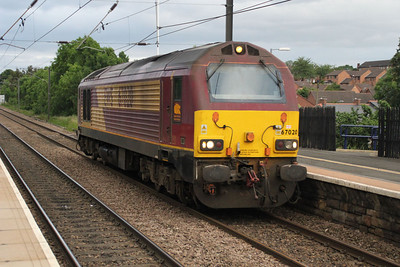 67020 heads north through Chester Le Street at 2100. 23/06/12