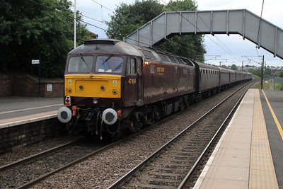 47270 TnT 47854 2104/1z36 Stratford Upon Avon to Berwick heads north through Chester Le Street. 23/06/12